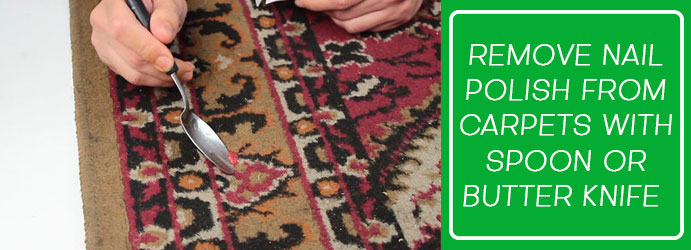 Removal of nail polish stains from the carpets